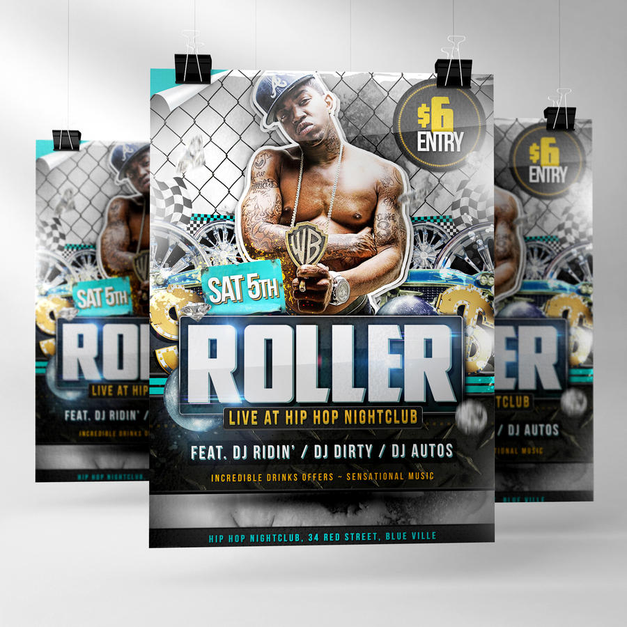 Roller Hip Hop Flyer Template by quickandeasy1 on DeviantArt