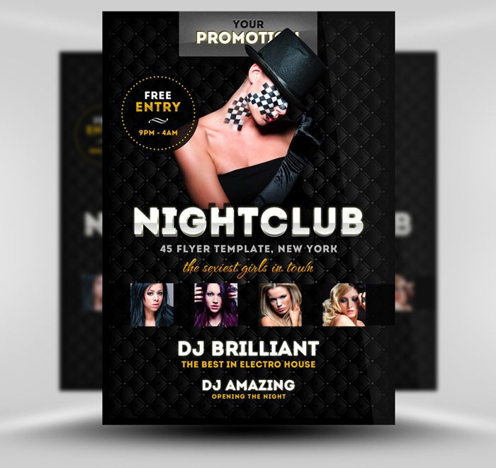 Luxury PSD A5 Nightclub Flyer Template by quickandeasy1