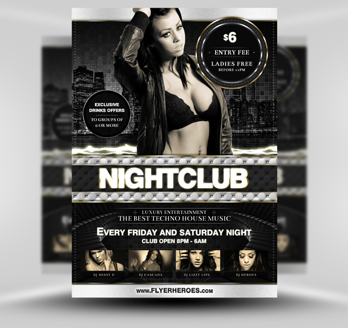 Luxury Nightclub Flyer Template PSD II by quickandeasy1 on