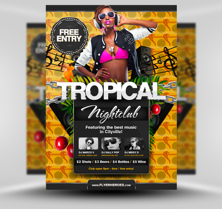 Free Summer Tropical Beach Party Flyer Template By Quickandeasy1 On
