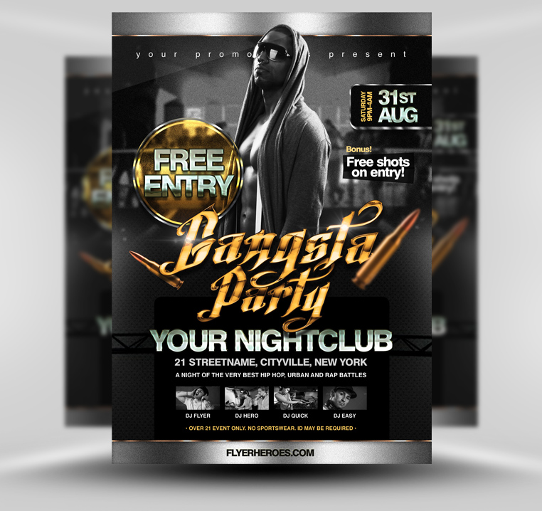 gangsta party flyer template by quickandeasy1 on deviantart