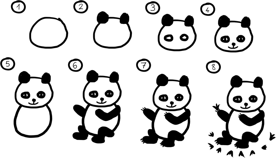 how to draw a realistic panda bear