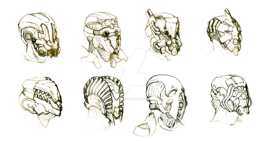 Helmet Concept Art -Random Sketches- by DarkilianRaven