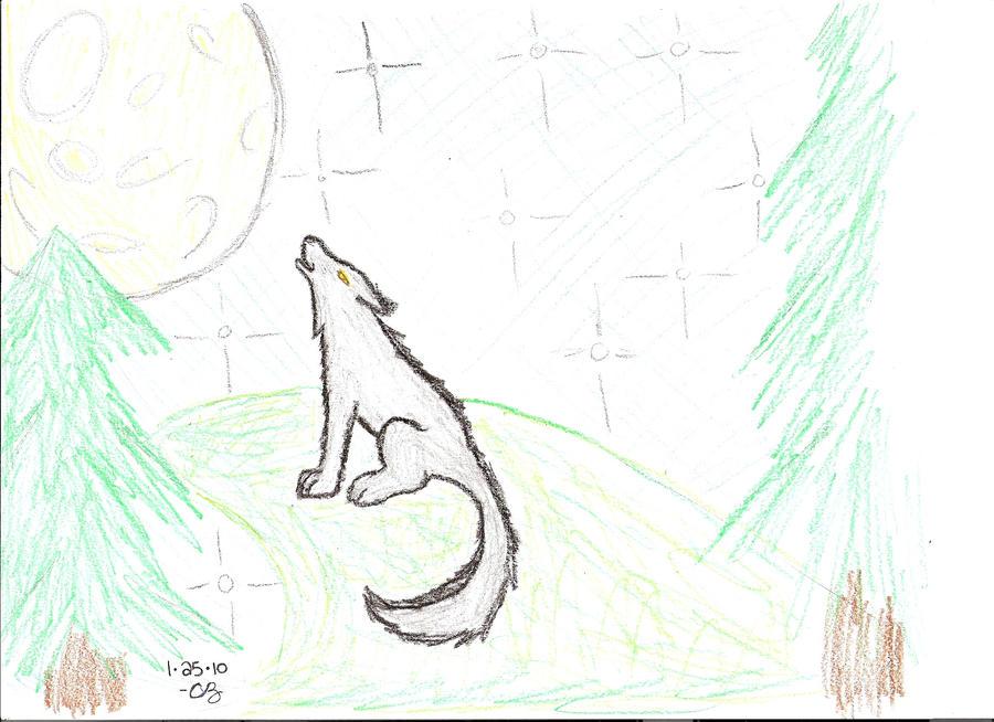 Wolf Moon Drawing Moon Moonlight Cartoon Wolf