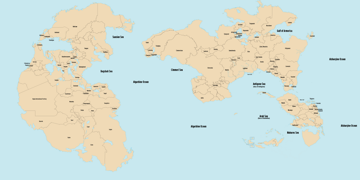 world map labels
