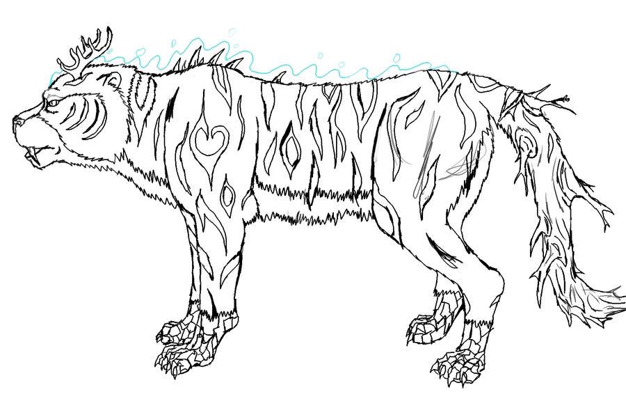 Line Art Tiger : Tiger line drawing