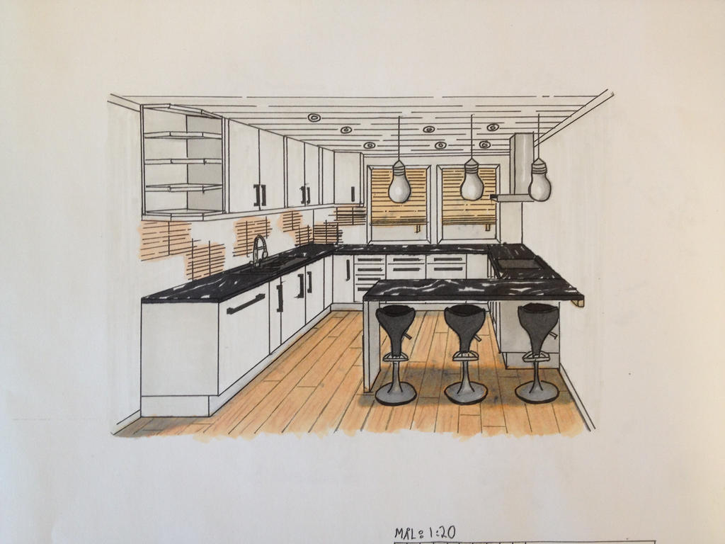 One point perspective living room drawing - Interior Kitchen 1 Point Perspective By Thebif94 On Deviantart