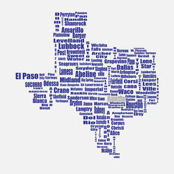 Typographical Texas Map by DasStanzy