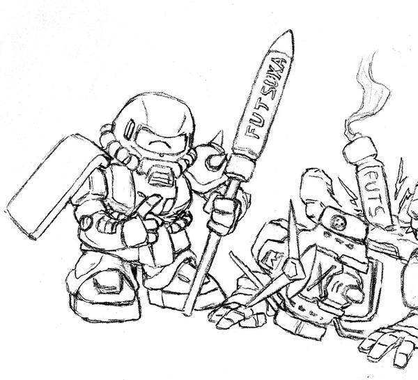 Zaku Lineart : Sd zaku and futsuka missiles by darcad on deviantart