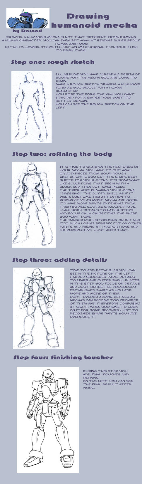Tutorial: draw humanoid mecha by Darcad