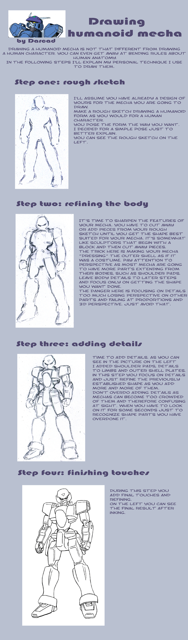 Tutorial: draw humanoid mecha by Darcad