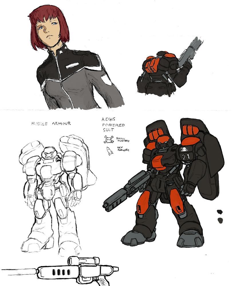 Sketch: armored trooper by Darcad