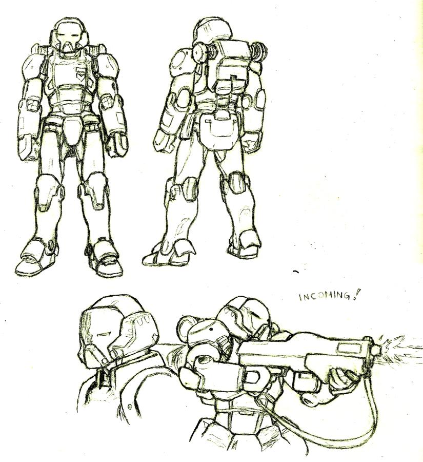 Sketch: Power suit by Darcad