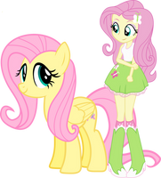 Fluttershy and Fluttershy by Vector-Brony