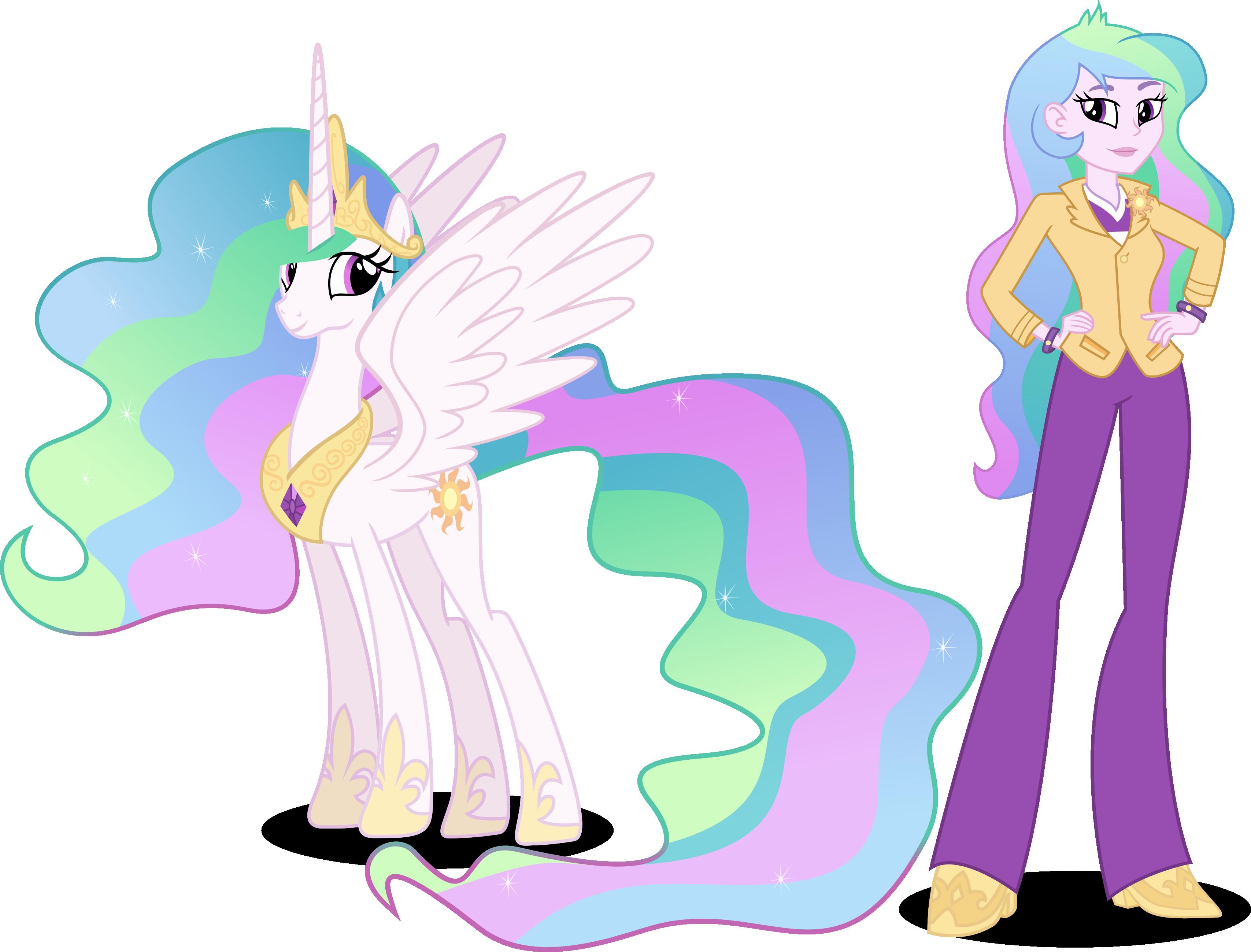 Princess Celestia and Principal Celestia by Vector-Brony ...