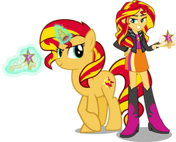 Sunset Shimmer And Sunset Shimmer by Vector-Brony