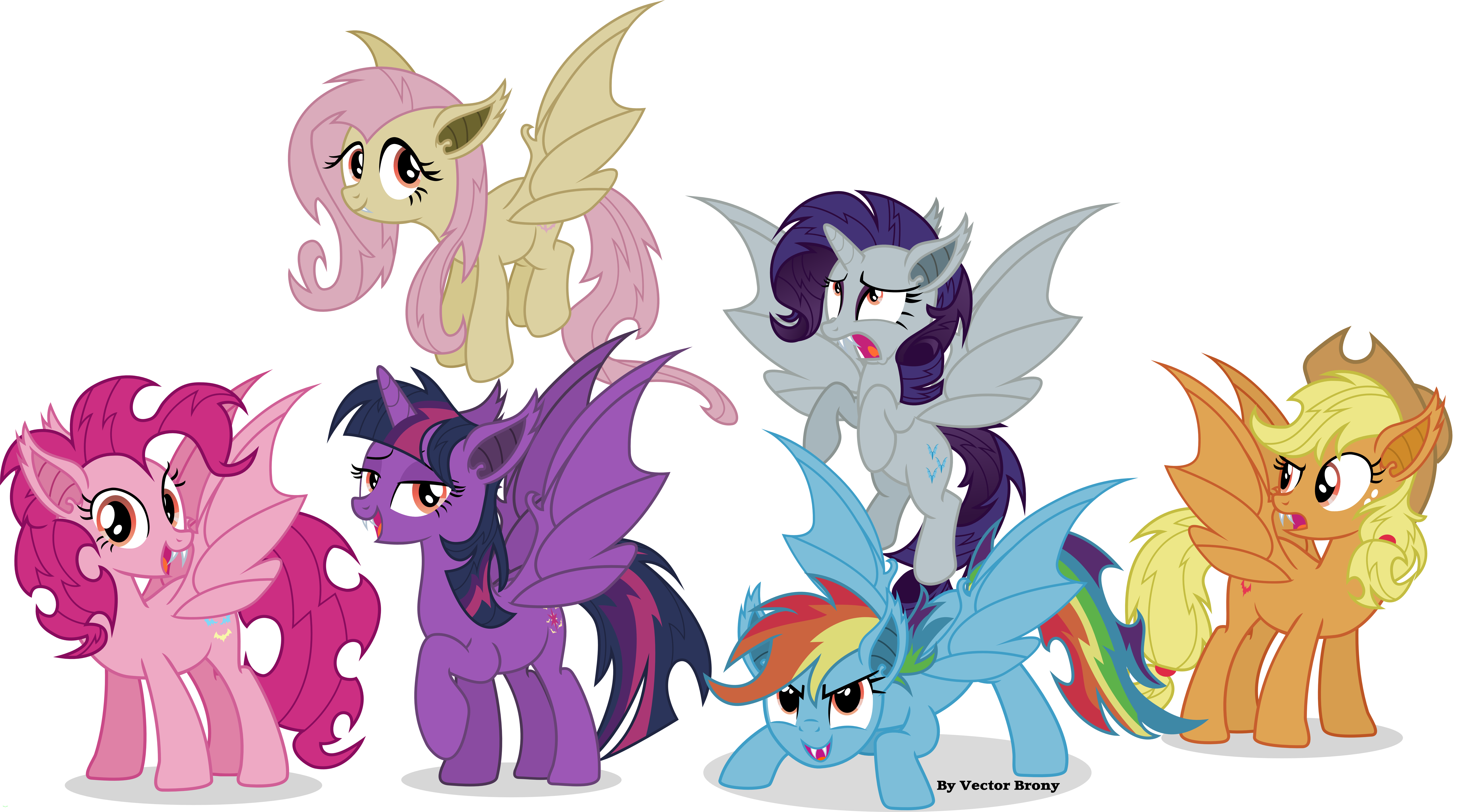 Bat mane six by vector brony on deviantart for Mlp coloring pages mane 6