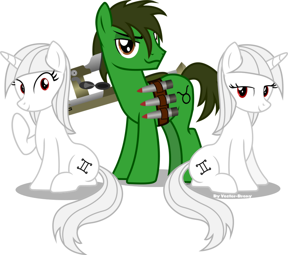 Gem, Mini and Taurus (Fallout Equestria) by Vector-Brony