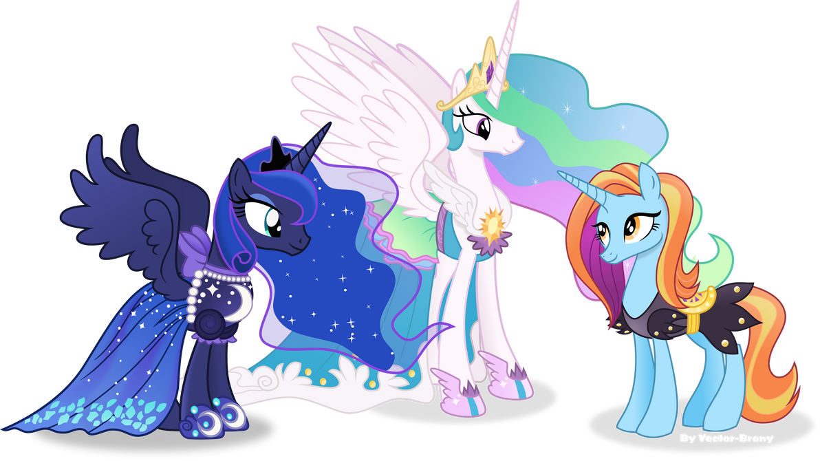 Celestia and luna in their new dresses.