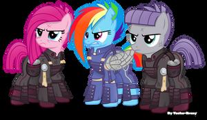 Crystal war Dash, Pinkie and Maud.