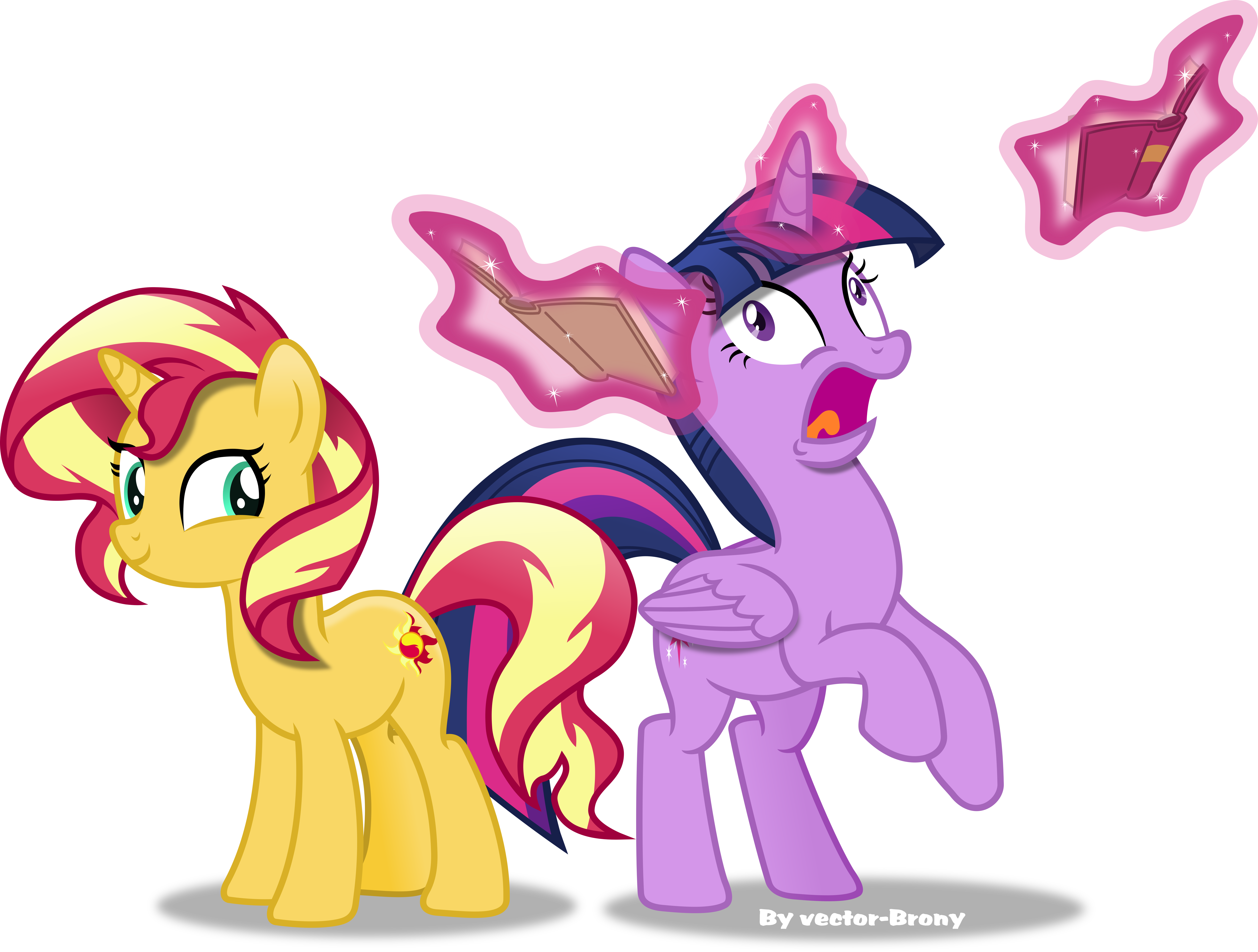 Sunset Shimmer and Twilight freaking out by Vector-Brony