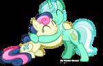 Lyra and bonbon hugging
