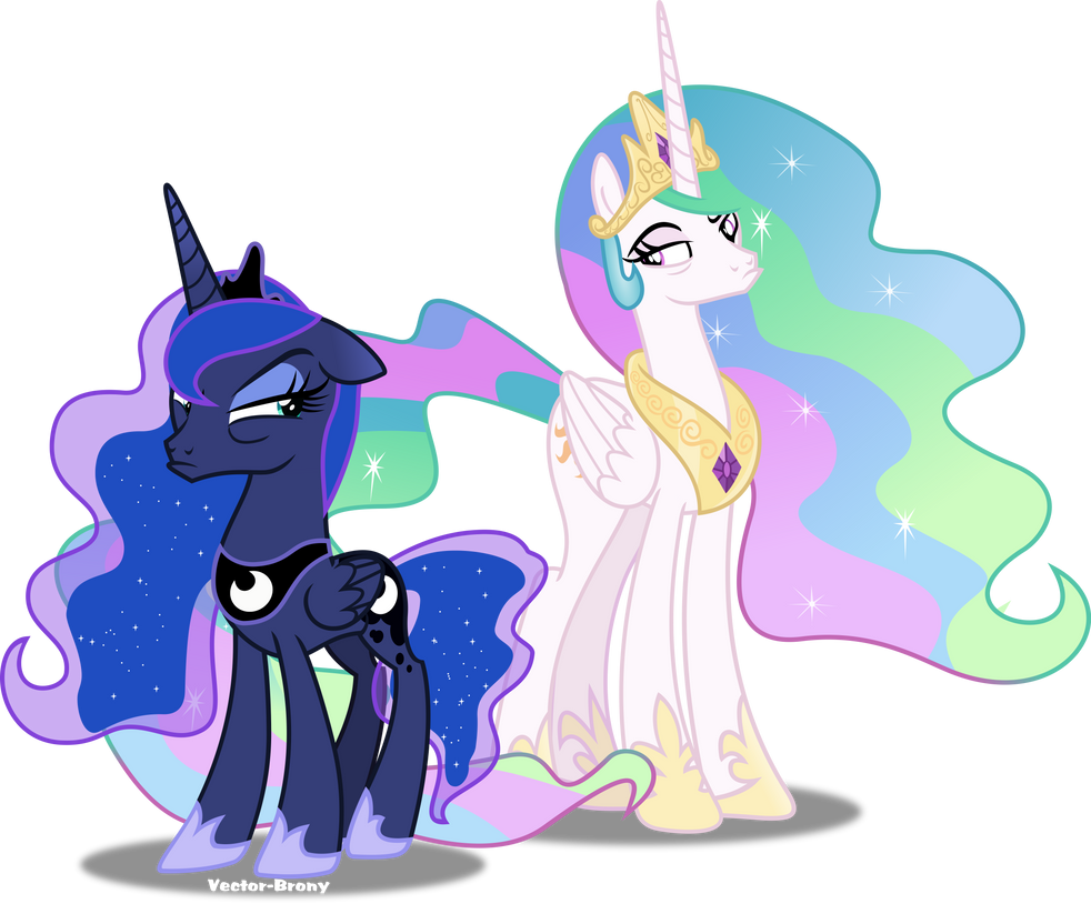 Celestia and Luna pouting by Vector-Brony