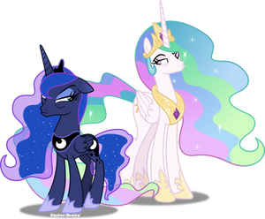 Celestia and Luna pouting
