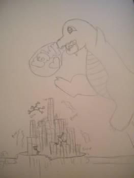 a dino attacking....