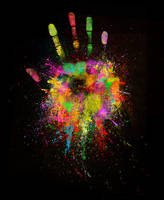 a colorful hand to stop war by narumi306