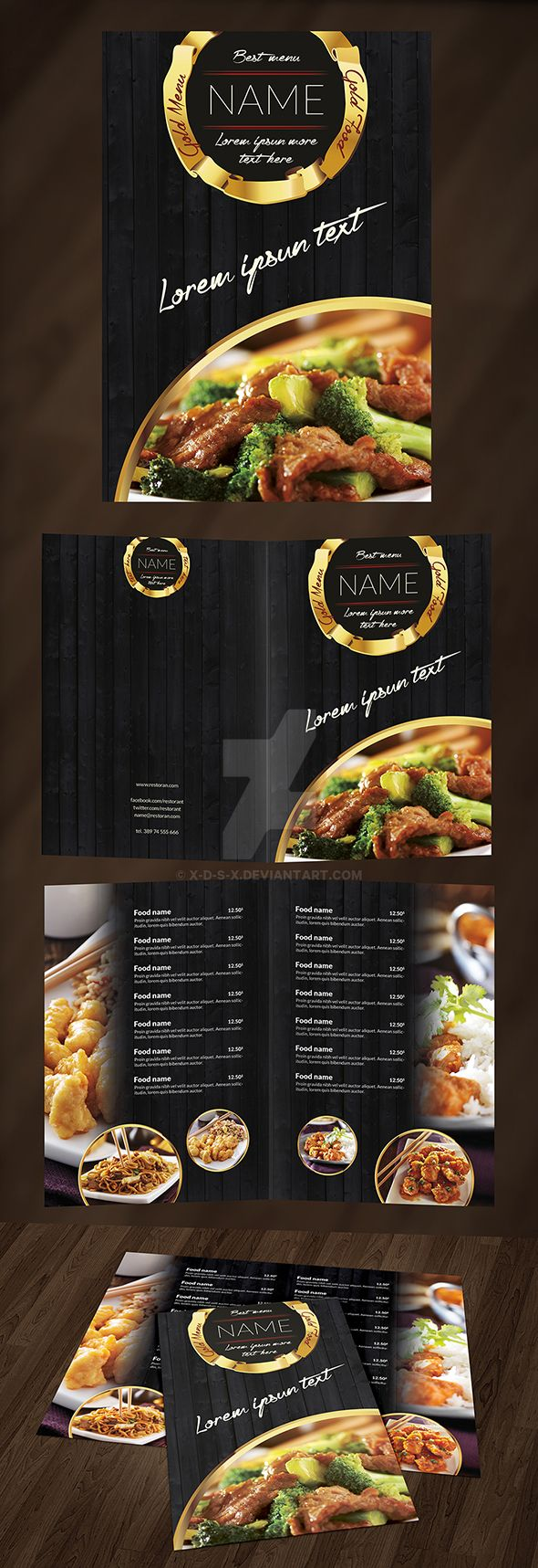 Gold food menu by x d s x on deviantart for Artistic cuisine menu