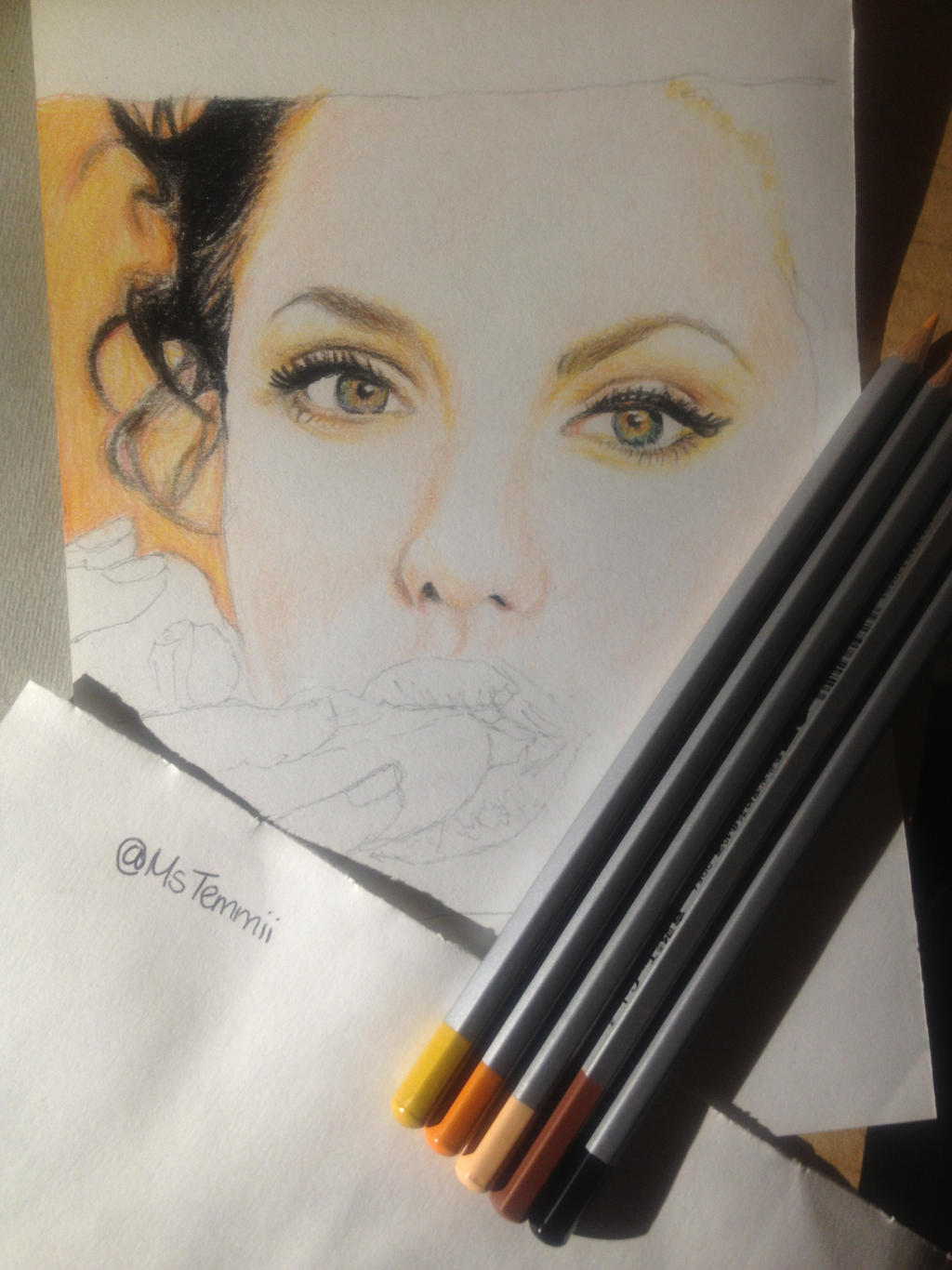 Angelina Jolie WIP by MsTemmii