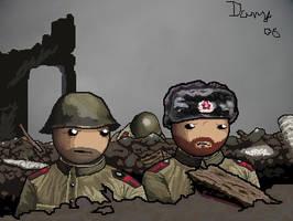 Soldiers in Stalingrad ruins