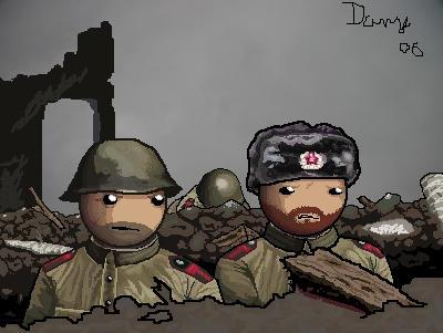 Soldiers in Stalingrad ruins by AngusBurgers