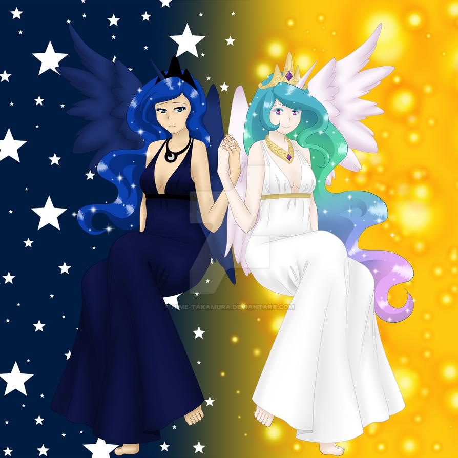 Luna and Celestia by Hime-Takamura