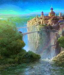 Waterfall Town by Rukkits