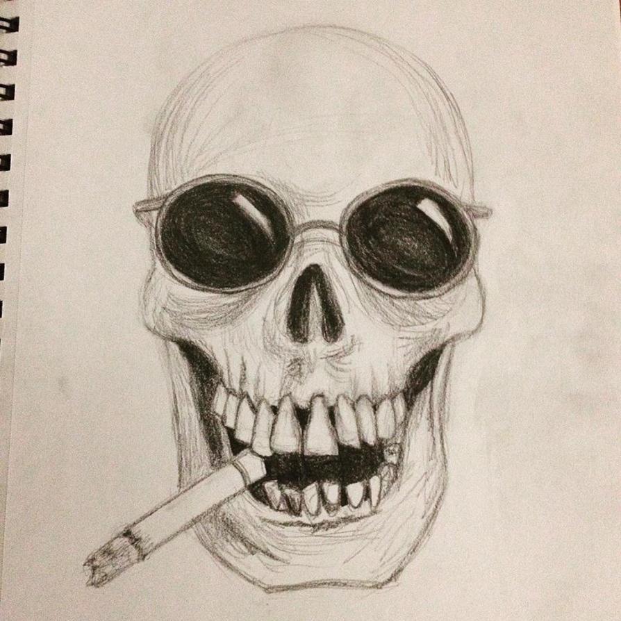 Skull Smoking a Cigarette by Antu