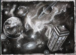 Doctor Who Tardis in charcoal