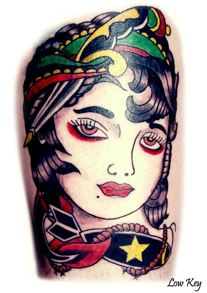 Vintage Gypsy Tattoo by lowkey704Vintage Gypsy Tattoo