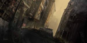 Hazy apocalyptic city