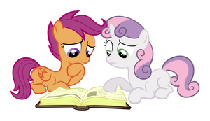 Sweetie Belle and Scootaloo with a book by delectablecoffee