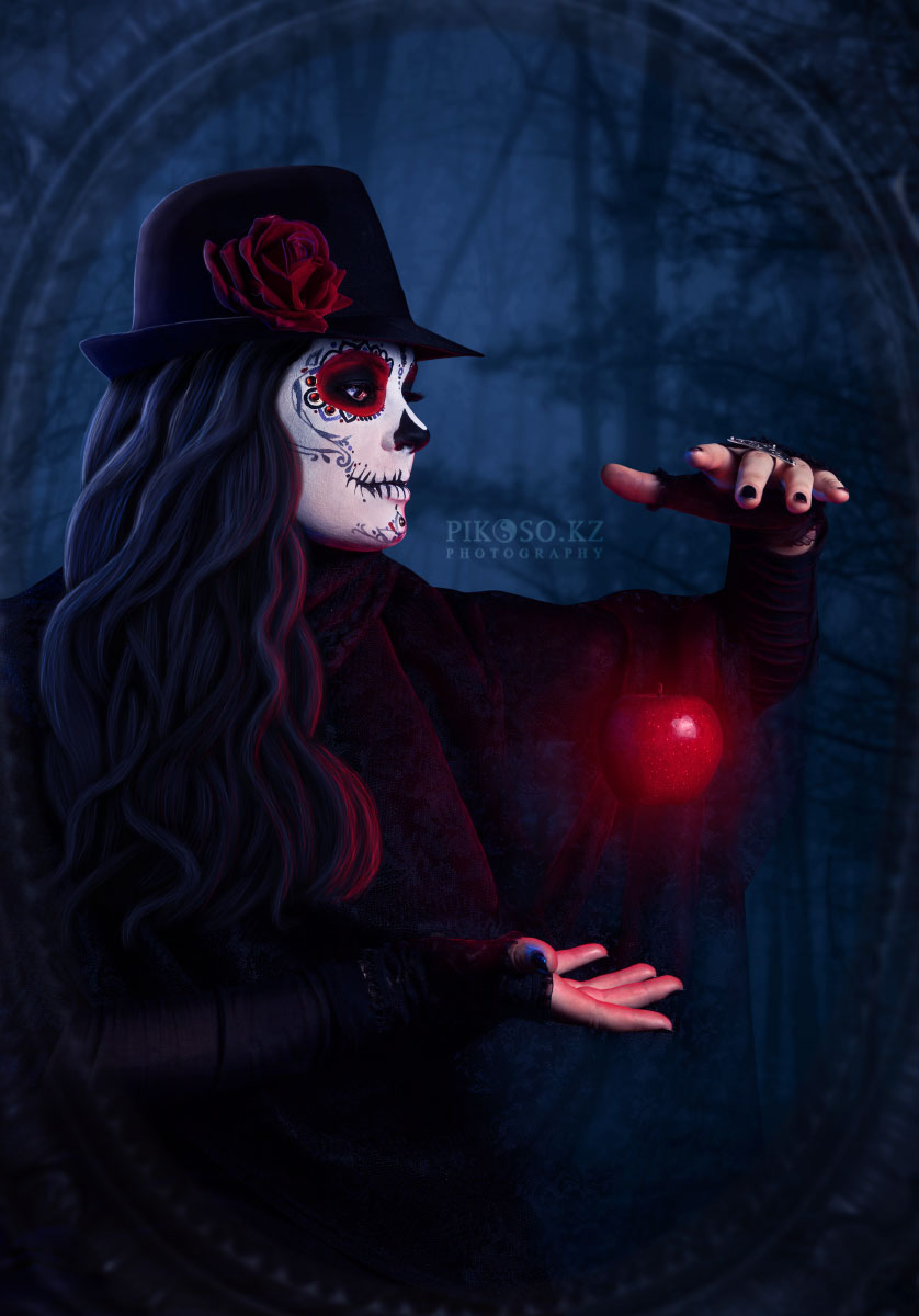 Sugar scull lady with red apple by dreamfall-girl