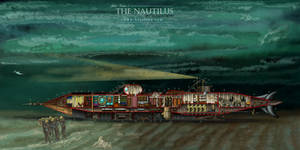 Cutaway of Jules Verne's Nautilus by HISutton