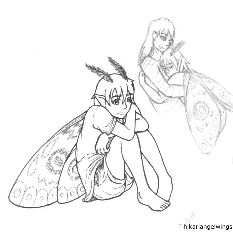 dark moth fairy drawing line art by hikariangelwings on deviantart