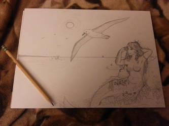 Unfinished Sketch - Mermaid Ocean Scene by hikariangelwings