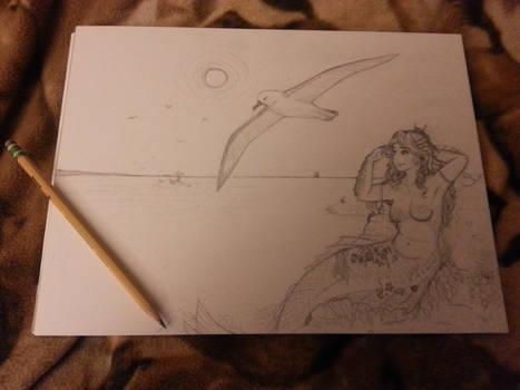 Unfinished Sketch - Mermaid Ocean Scene