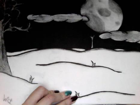 Charcoal moon landscape