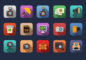 Photographer Flat Icons by Alexgorilla
