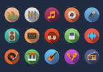 Music flat icons ( circle version )