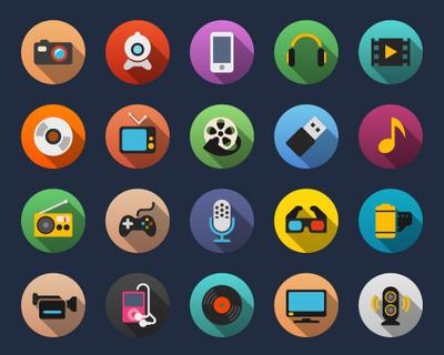 Multimedia Flat Icons by Alexgorilla